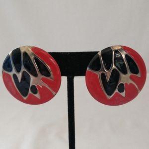 Vintage 80s Statement Earrings Enameled Red Black